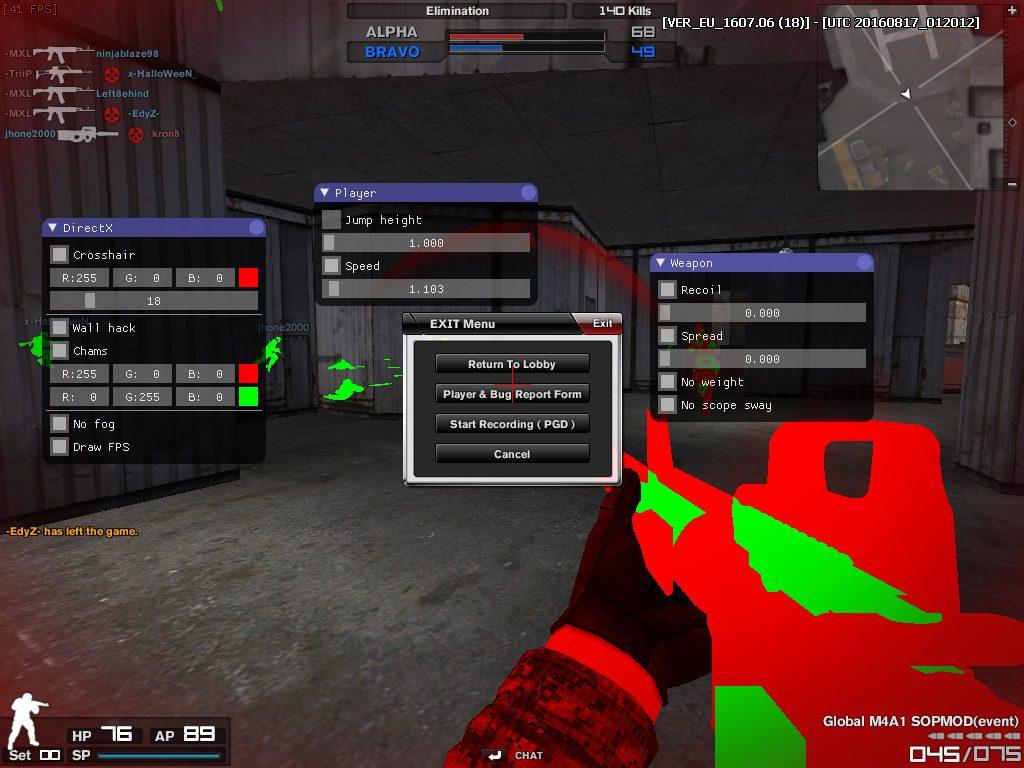 Combat Arms Hile Velixium v1.2 Crosshair Wallhack Recoil Mod