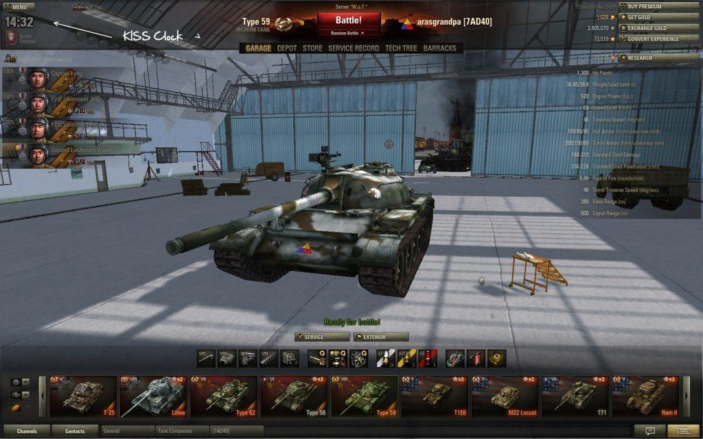 World Of Tanks Hile 9.15.1.1 Clock in Hangar